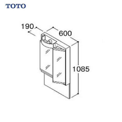 メーカー直送 TOTO Vシリーズ 化粧鏡 二面鏡 間口600 [LMPB060A2GDG1G] LEDランプ エコミラーなし