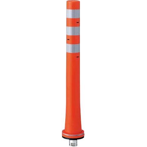 メーカー直送 サンポール ガードコーン φ80,台座径φ130×H800mm カラー:オレンジ [RBKS-80(R)]