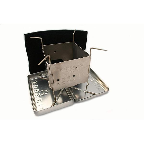 FIREBOX (ファイヤーボックス) GEN2 チタン製 【ナノストーブ+X-ケースセット】 (ナノストーブ、X-ケース、カーボンフェルト、L字型ピン2本) ウッドストーブ