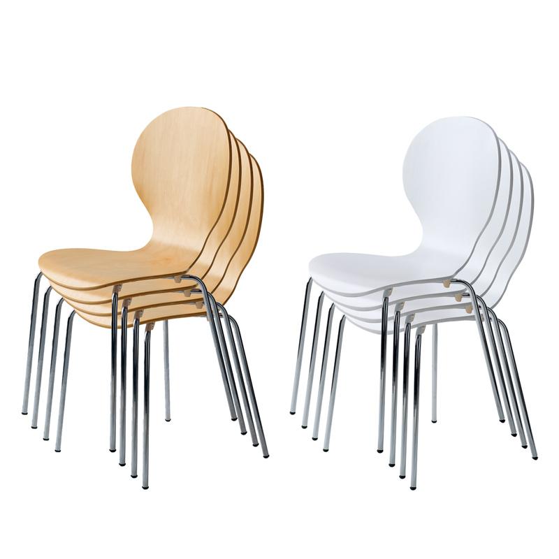 送料無料 【4脚/1セット】 スタッキングチェア 積み重ね椅子 組立商品 スチール 天然木1脚辺り3,735円税込 シェルチェア。