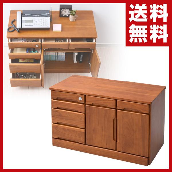 山善(YAMAZEN) 引き出しいっぱい 電話台 木製 鍵付き 80幅 ファックス台 FAX台 リビング収納 ラック リビングボード 【送料無料】