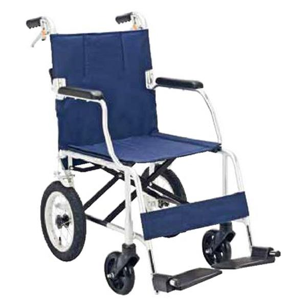マキテック(マキライフテック) 介助用 車椅子 折り畳み【非課税】背折れタイプ NR-100SB 紺 介助車 車イス 車いす アルミフレーム 折りたたみ 背折れ おしゃれ 軽量 【送料無料】