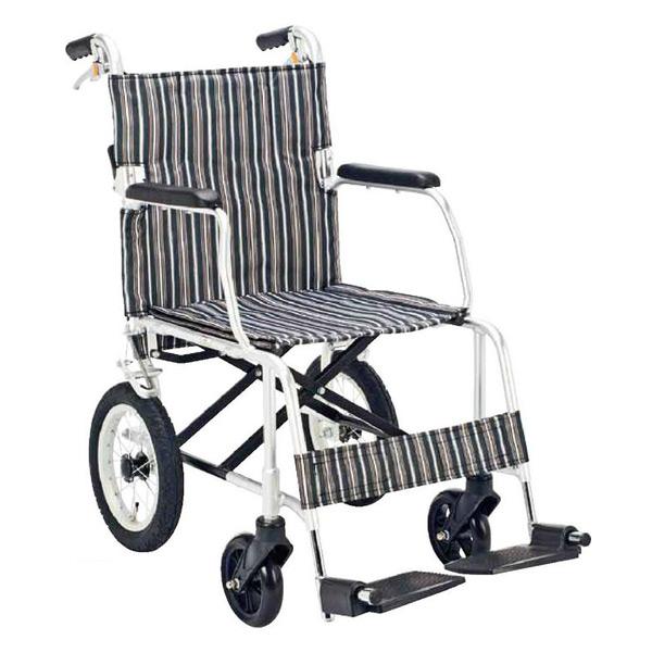 マキテック(マキライフテック) 介助用 車椅子 折り畳み【非課税】背折れタイプ NR-100BS ブラックストライプ 介助車 車イス 車いす アルミフレーム 折りたたみ 背折れ おしゃれ 軽量 【送料無料】