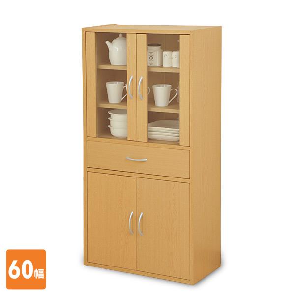 食器棚 (幅60 高さ120) CCB-1260(NB) ナチュラル キッチン収納 キッチンボード カップボード 山善 YAMAZEN【送料無料】【あす楽】