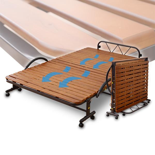 すのこ折りたたみベッド セミダブル KSBB-SD(DBR)R ダークブラウン すのこベッド スノコ折りたたみベッド 折り畳みベッド 折りたたみベット 山善 YAMAZEN【送料無料】