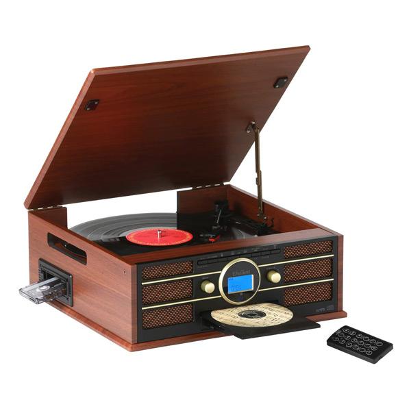 木目調 多機能 レコードプレーヤー (AM/FMラジオ (ワイドFM対応)) 録音機能 再生機能 USB/SD CD カセットテープ レコード TCD-291EC-002 木目調ブラウン レコードプレーヤー CD カセットテープ ダビング AM FM ラジオ SD とうしょう 【送料無料】