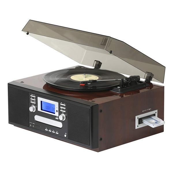 多機能 レコードプレーヤー コンパクト (AM/FMラジオ (ワイドFM対応)) 自動曲番入り機能搭載 USB/SD CD カセットテープ TS-7885PBR(BR) ブラウン レコードプレーヤー CD カセットテープ ダビング AM FM ラジオ SD とうしょう 【送料無料】