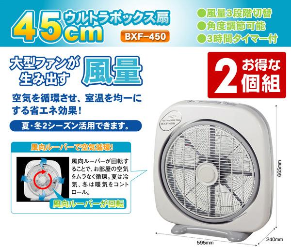 【GWも出荷中】ナカトミ(NAKATOMI) 45cmウルトラボックス扇風機 タイマー付き 2個組 BXF-450*2 扇風機 送風機 大型 BOX扇 サーキュレーター 循環用 工業扇 工場扇 2個セット おしゃれ