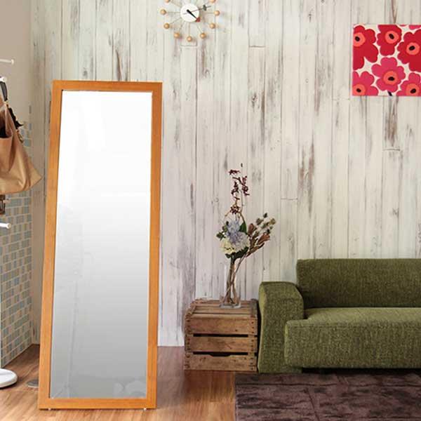 【スーパーセール限定価格】スタンドミラー 鏡 チーク材突板 幅50cm