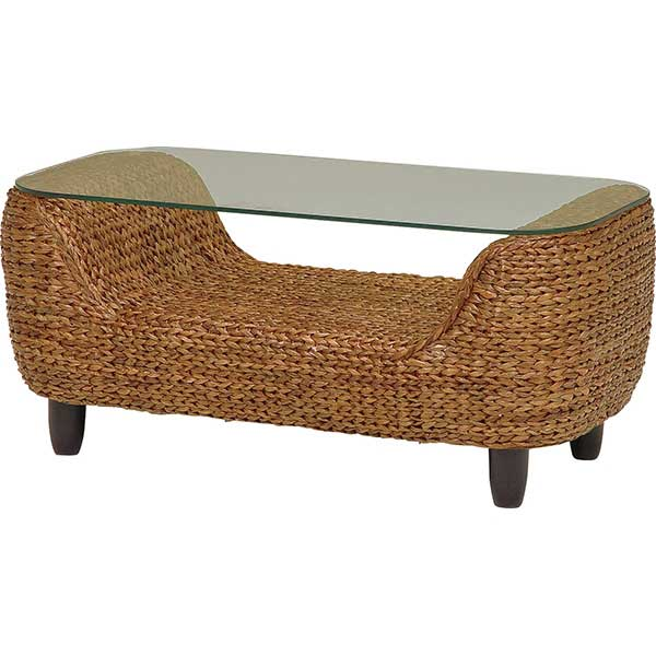 テーブル ガラス 天板 アジアン アジアン家具 夏 センターテーブル おしゃれ ウォーターヒヤシンス