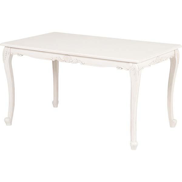 【半額以下】ダイニングテーブル 幅130cm アンティーク家具 ホワイト 白 姫系 可愛い 木製 4人 長方形