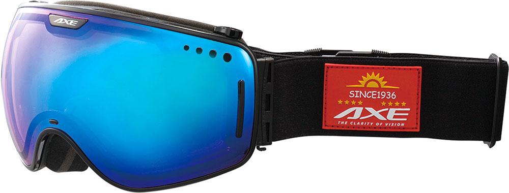 AXE(アックス)スキーゴーグル・サングラスメンズ スノーゴーグル UVカットAX960ECMブラックブルー