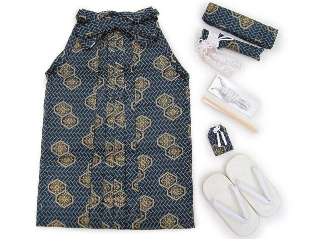 袴 角帯 売り込み 懐剣 羽織紐 お守り 雪駄すぐに使える便利なセット 新品 ^ 販売 幾何学柄 シックな印象 5歳はかまセット 新発売