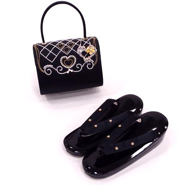 【新品】草履バッグセット 振袖や訪問着におすすめ anan スィートなブラック フリーサイズ約23.0から24.5cm対応