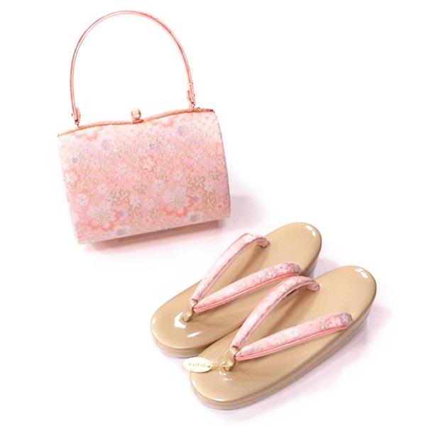 振袖や訪問着におすすめ Lサイズ約23.5から24.5cm対応 きらめき桜柄ピンク 【新品】草履バッグセット