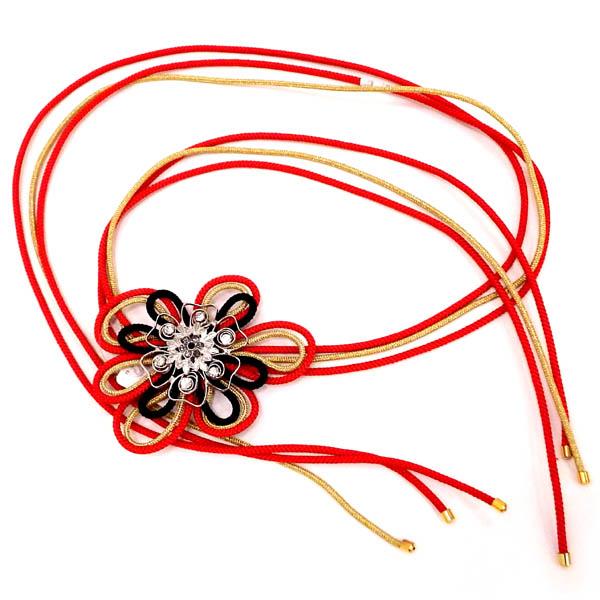 ◆セール特価品◆ ドレスや洋服のベルトにも デザイン帯締め 予約販売 赤×金×黒の組紐でアレンジ自在