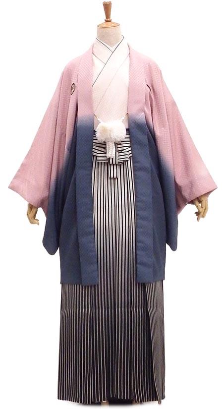 男紋服セットUSED販売 レトロな市松の織り模様 ピンク×グレーのグラデーション【中古】 身長約173~176cm