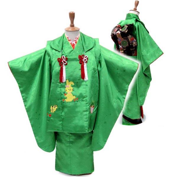 被布コートでも 作り帯でも着られる2WAY モデル着用 注目アイテム 3歳 当店限定販売 着物 USED フルセット 髪飾りのプレゼント付き 販売 作り帯つき2WAY 中古 草原のグリーン なかよしウサギとリス