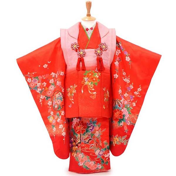 3歳 着物 USED 【販売】【中古】匂いたつ花々の赤とピンク 髪飾りと着付け小物付き