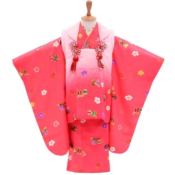 3歳 着物 USED 【販売】【中古】おしどりとお花のダンス 華やぐPINK 髪飾りと着付け小物付き
