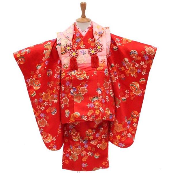 3歳 着物 USED 【販売】【中古】梅の花と手まりの軽やかなリズム 髪飾りと着付け小物付き