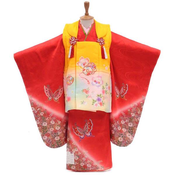3歳女の子の被布コートセット 秋の野に出会うアゲハ蝶 髪飾りと着付け小物付き【販売】【新品】【正絹】