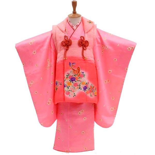 3歳 着物 USED 【販売】【中古】【正絹】春風に誘われたアゲハ蝶 髪飾りと着付け小物付き