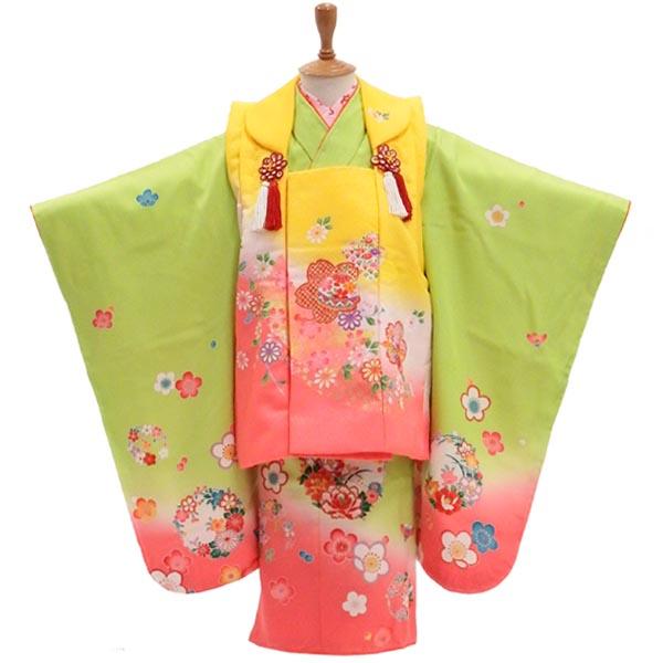 3歳 着物 販売 【正絹】初々しい若葉のように 髪飾りと着付け小物付き【新品】
