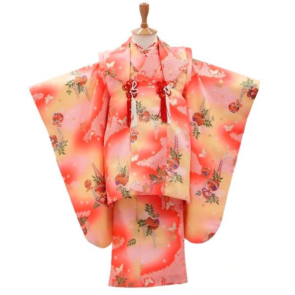 3歳 着物 USED 販売【中古】藤の枝に鈴が揺れて 髪飾りのプレゼント付き