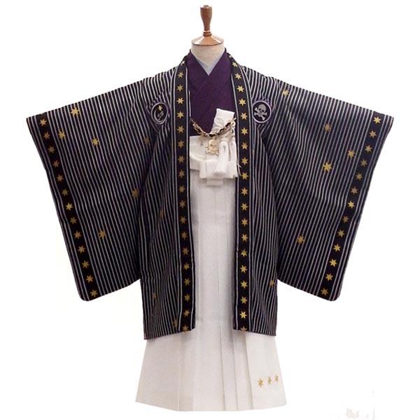 七五三フルセット 5歳 袴 男の子の購入セット【中古】海賊王になれるかな BLACK&WHITE 身長約105から110cm
