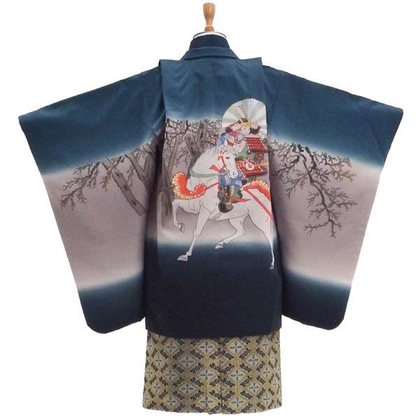 七五三フルセット 5歳 袴 男の子の購入セット【中古】水墨画ふうの高級感ある羽織セット 身長約108から113cm