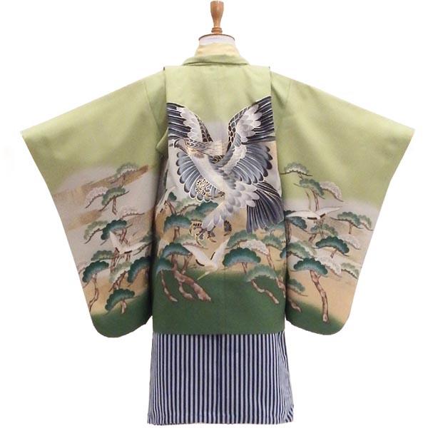 七五三 5歳 男の子の袴フルセット 販売【中古】萌えいづる春に鷹の羽音 身長約101から104cm
