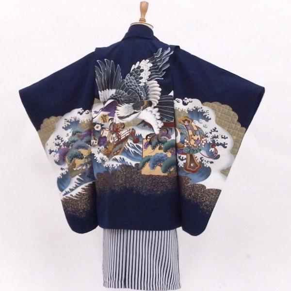 販売 袴セット 5歳 紺【中古】身長約108から113cmのみとなりました 男の子用七五三 宝船を守れ!鷹の雄姿