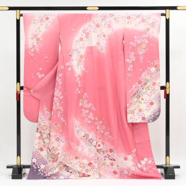 新作製品、世界最高品質人気! 動画付き 日本全国 送料無料 正絹振袖 販売 おぼろに霞む枝垂れ桜 中古