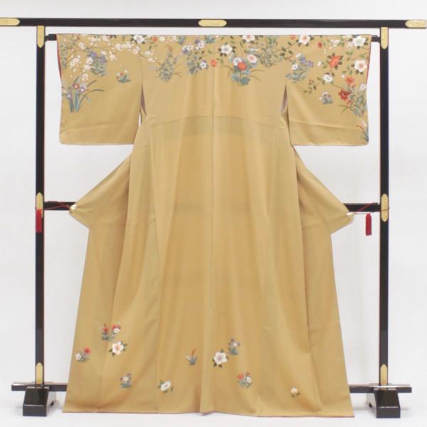 【正絹表地】【新品】仕立て上がり 訪問着 単品販売 肩にこぼれる花々 刺しゅうを添えて