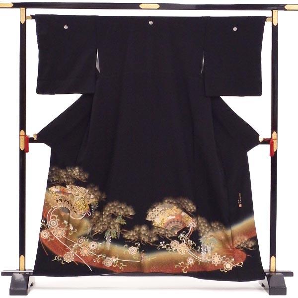 自社内手入れで安心の品質 メーカー在庫限り品 正絹 黒留袖 中古 単品販売 貸衣装をリサイクル 丸に横木瓜 祝いの松に舞う扇 五つ紋 卸売り