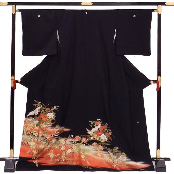 【正絹】【中古】単品販売 黒留袖 貸衣装をリサイクル 花いかだに鶴と流水 五つ紋 丸に抱茗荷