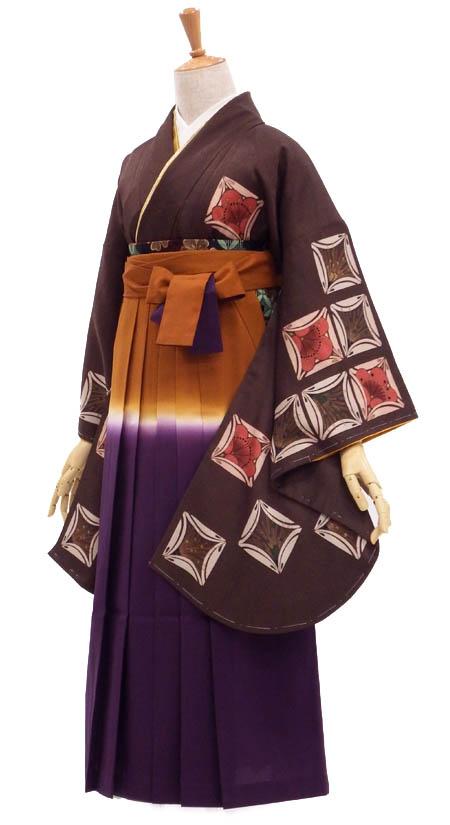 卒業式 USED袴セット販売 個性派和柄ブラウン【中古】身長約147から150cm