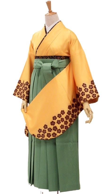 卒業式に袴 巾着もついてる購入6点セット 袖の桜で個性的 ひまわりイエロー 身長約151から154cm【中古】