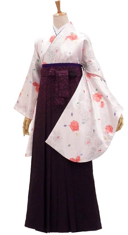 卒業 卒園 女性袴セット販売 きらめきロマンティックローズ WHITE×総柄はかま身長約153から157cm、163から166cm対応【中古】