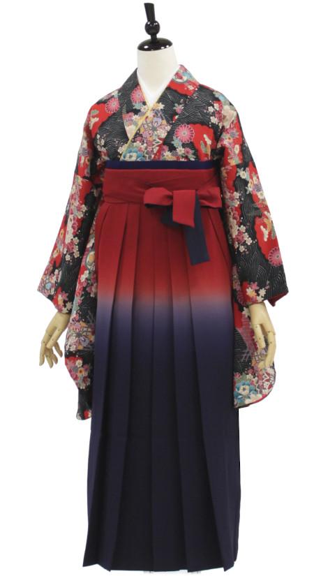 重ね衿 袴帯 日本最大級の品揃え 半衿付き長襦袢 きん着がセット 卒業 卒園に 身長約155から162cm対応 浪漫GIRLの赤×黒 ボカシの袴で個性派コーデ USED袴6点セット 中古 春の新作