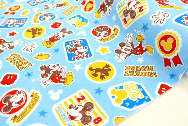 公式サイト 完全送料無料 キャラクター生地Disney入園入学生地材料セットの受付中 ディズニー ミッキーマウス オックス生地 総柄