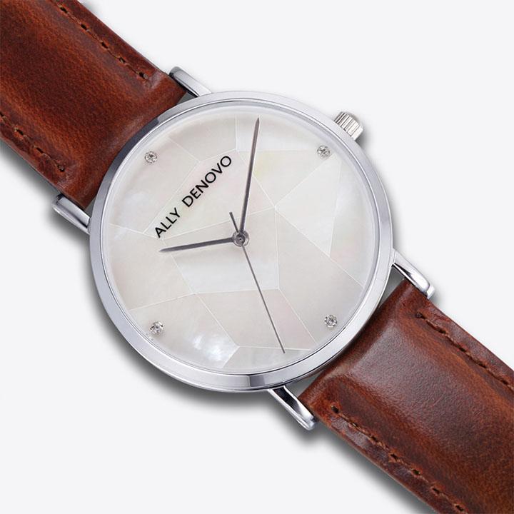 【ALLYDENOVO】Gaia Pearl 36mm [保証書付き] / 腕時計 レディース 真珠 パール 本革 アナログ メタリック ビジネス プレゼント ギフト ビックフェイス (ネコポス不可) 3980円以上 送料無料