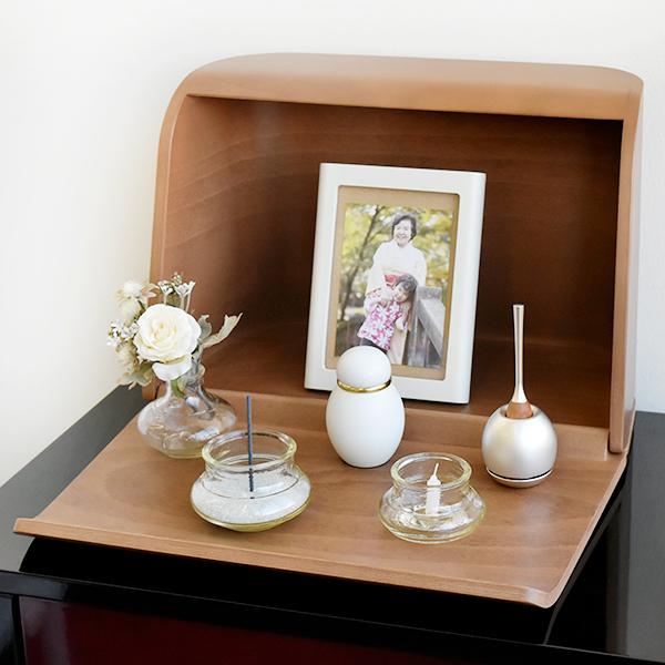 ミニ仏壇|やさしい時間 祈りの手箱|ブラウン(仏具セット)