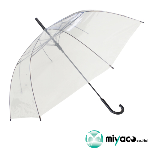 ビニール傘(透明)60cmジャンプ式【黒骨】60本