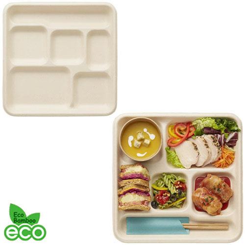 HEIKO 使い捨て 紙皿 エコバンブー 6仕切りトレイ(BT6-26)200枚