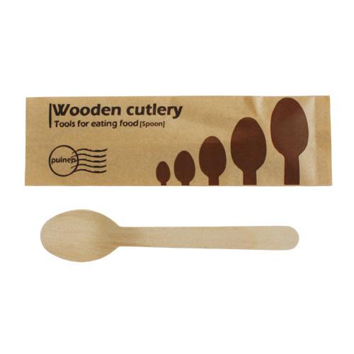 紙袋入 ウッド 木製 スプーン 160mm 業務用 3000本 /おしゃれで、かわいい 袋入りタイプ。テイクアウト用にも人気です。