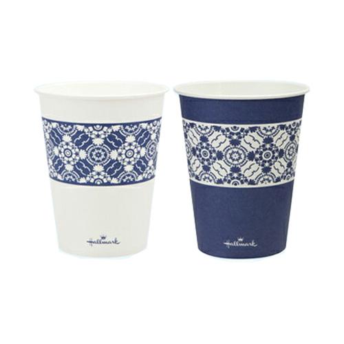 紙コップ9オンス HMクラシックブルーカップ275ml 2500個