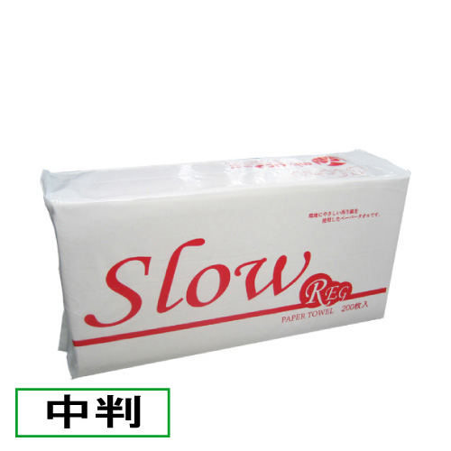 送料無料 沖縄県 期間限定特価品 離島除く 業務用ペーパータオル 新色 中判 Slow 6000枚 200枚×30袋 REG