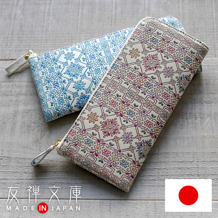 ac910488e01 Thin long wallet goods cloth women's leather L-shaped fasteners made in  Japan floral Pocket ...